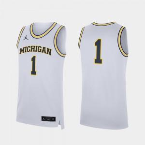 Replica Michigan Jersey For Men's White #1 College Basketball 331062-296