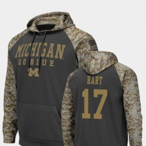 For Men's Charcoal Will Hart Michigan Hoodie #17 Colosseum Football United We Stand 235440-139