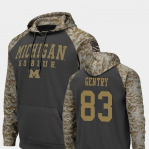 Men Zach Gentry Michigan Hoodie Charcoal United We Stand #83 Colosseum Football 890906-512