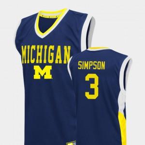 Zavier Simpson Michigan Jersey Fadeaway #3 Men's College Basketball Blue 975997-885