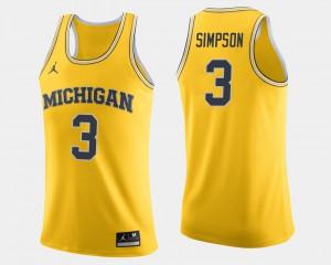 Zavier Simpson Michigan Jersey Maize College Basketball For Men's #3 372567-854