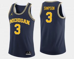 College Basketball Men's Zavier Simpson Michigan Jersey #3 Navy 597086-970