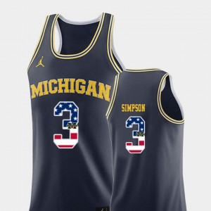 For Men Navy #3 USA Flag Zavier Simpson Michigan Jersey College Basketball 299291-148