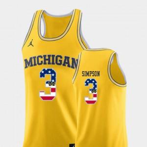 Zavier Simpson Michigan Jersey #3 USA Flag Men's College Basketball Yellow 677175-944