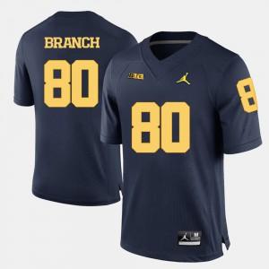 College Football #80 Men Alan Branch Michigan Jersey Navy Blue 660456-866