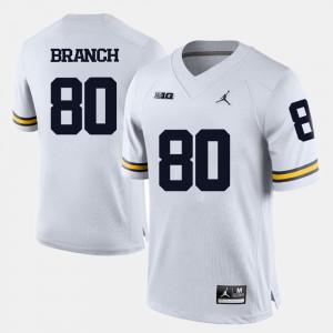For Men #80 College Football Alan Branch Michigan Jersey White 444831-804