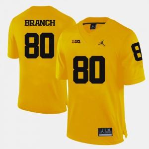 Alan Branch Michigan Jersey College Football Men's Yellow #80 366137-788