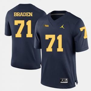 Ben Braden Michigan Jersey Navy Blue #71 Men College Football 418166-557