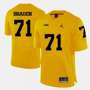 Yellow Men #71 Ben Braden Michigan Jersey College Football 604683-548