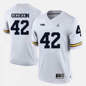 Ben Gedeon Michigan Jersey For Men's College Football White #42 910832-784