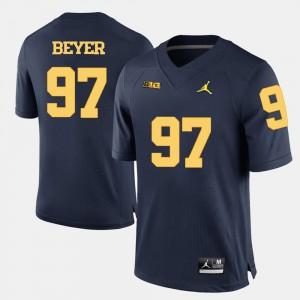 College Football Navy Blue #97 Brennen Beyer Michigan Jersey For Men 209253-707