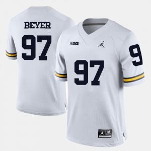 Men's Brennen Beyer Michigan Jersey White #97 College Football 690478-197