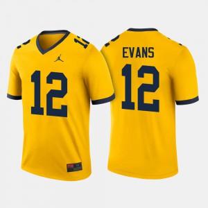 College Football #12 Chris Evans Michigan Jersey Men Maize 612592-898