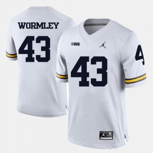 Mens College Football Chris Wormley Michigan Jersey White #43 633500-568