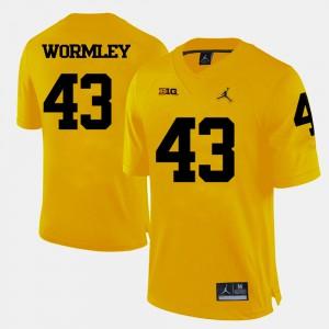 #43 Chris Wormley Michigan Jersey Men's College Football Yellow 398535-984