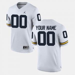 College Limited Football Michigan Customized Jersey For Men's White #00 343920-114