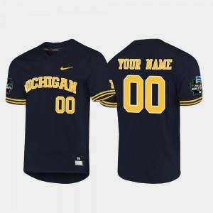 Michigan Custom Jerseys Navy Mens 2019 NCAA Baseball College World Series #00 237542-564