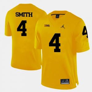 Yellow For Men #4 De'Veon Smith Michigan Jersey College Football 549017-180