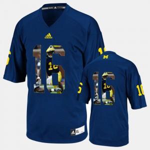Denard Robinson Michigan Jersey Navy Blue Men's Player Pictorial #16 439823-713