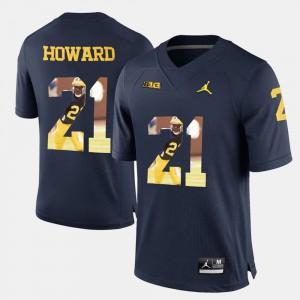 Player Pictorial #21 Desmond Howard Michigan Jersey For Men Navy Blue 516480-385