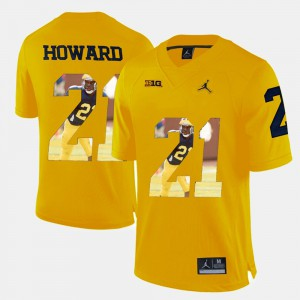 Player Pictorial Yellow #21 Men's Desmond Howard Michigan Jersey 291512-877