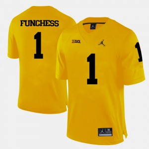 For Men #1 Devin Funchess Michigan Jersey Yellow College Football 769094-948
