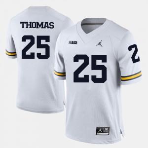 Mens College Football Dymonte Thomas Michigan Jersey White #25 554080-133