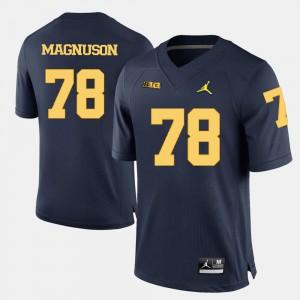 College Football For Men Erik Magnuson Michigan Jersey #78 Navy Blue 534129-927
