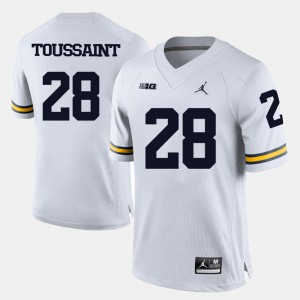Mens White College Football #28 Fitzgerald Toussaint Michigan Jersey 752461-528