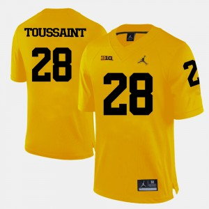 College Football Fitzgerald Toussaint Michigan Jersey #28 For Men's Yellow 442910-471