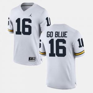 Alumni Football Game GO BLUE Michigan Jersey #16 For Men's White 967196-820