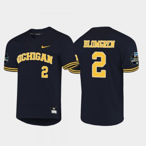 #2 Navy 2019 NCAA Baseball College World Series Jack Blomgren Michigan Jersey For Men's 895227-856