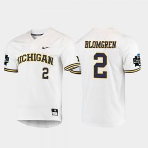 White Jack Blomgren Michigan Jersey 2019 NCAA Baseball College World Series #2 For Men 454192-170