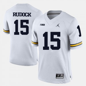 College Football White Jake Rudock Michigan Jersey #15 For Men's 857104-129