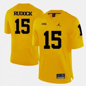For Men's #15 Jake Rudock Michigan Jersey Yellow College Football 382506-199