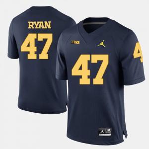 College Football For Men Jake Ryan Michigan Jersey #47 Navy Blue 583209-337