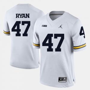 Jake Ryan Michigan Jersey Men White College Football #47 883700-816