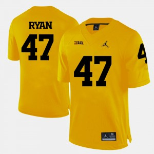 College Football Yellow Mens #47 Jake Ryan Michigan Jersey 872520-491