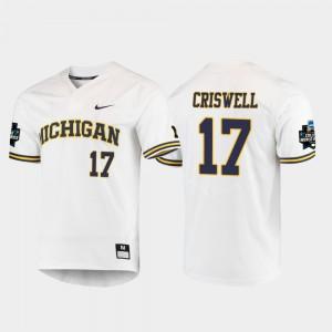 2019 NCAA Baseball College World Series Jeff Criswell Michigan Jersey #17 Men White 825747-558