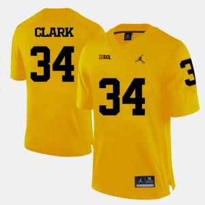 Mens Jeremy Clark Michigan Jersey #34 College Football Yellow 185327-253