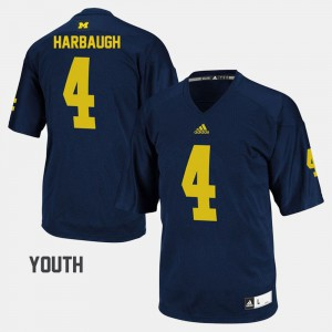 College Football Navy #4 For Kids Jim Harbaugh Michigan Jersey 499516-279