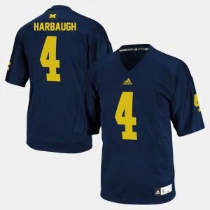 College Football Navy Jim Harbaugh Michigan Jersey For Men's #4 199597-638