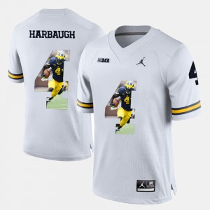 Player Pictorial White Jim Harbaugh Michigan Jersey #4 For Men's 180055-812