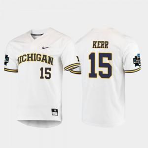 2019 NCAA Baseball College World Series For Men Jimmy Kerr Michigan Jersey White #15 490742-360