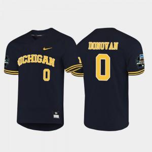 Men Navy #0 2019 NCAA Baseball College World Series Joe Donovan Michigan Jersey 854615-607
