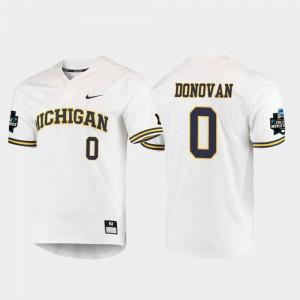 #0 Men White 2019 NCAA Baseball College World Series Joe Donovan Michigan Jersey 988379-839
