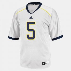 College Football John Wangler Michigan Jersey #5 Men White 575983-389