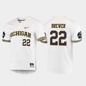 White 2019 NCAA Baseball College World Series Jordan Brewer Michigan Jersey For Men #22 361423-715