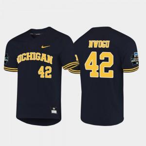 Jordan Nwogu Michigan Jersey #42 2019 NCAA Baseball College World Series For Men Navy 978286-701