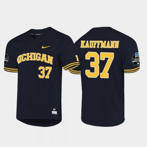 2019 NCAA Baseball College World Series Karl Kauffmann Michigan Jersey Navy #37 Men's 986675-272